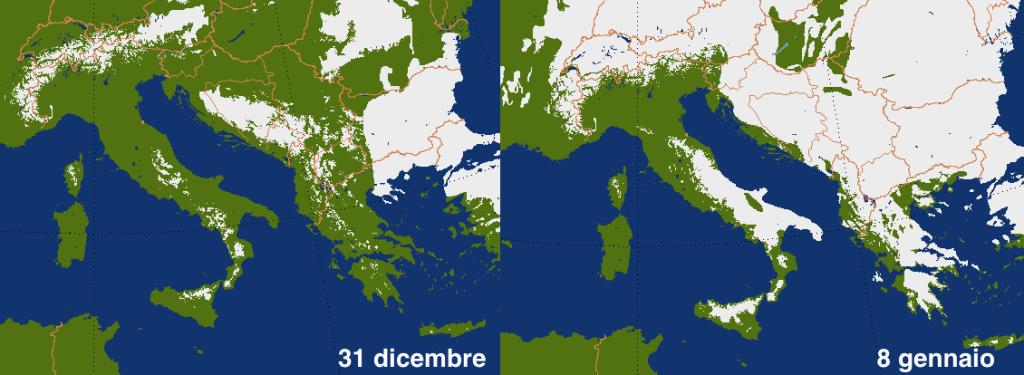 Differenza nella copertura nevosa prima e dopo le ingenti nevicate che hanno interessato il Mediterraneo