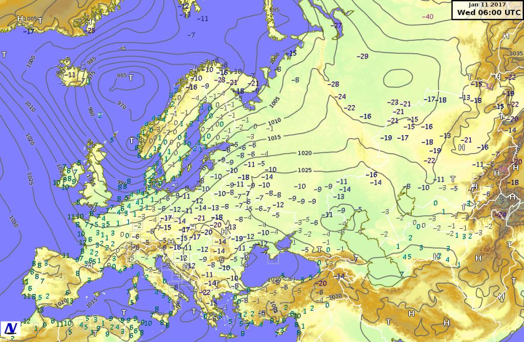Temperature minime e  pressione riportata al livello del mare misurati l'11 gennaio