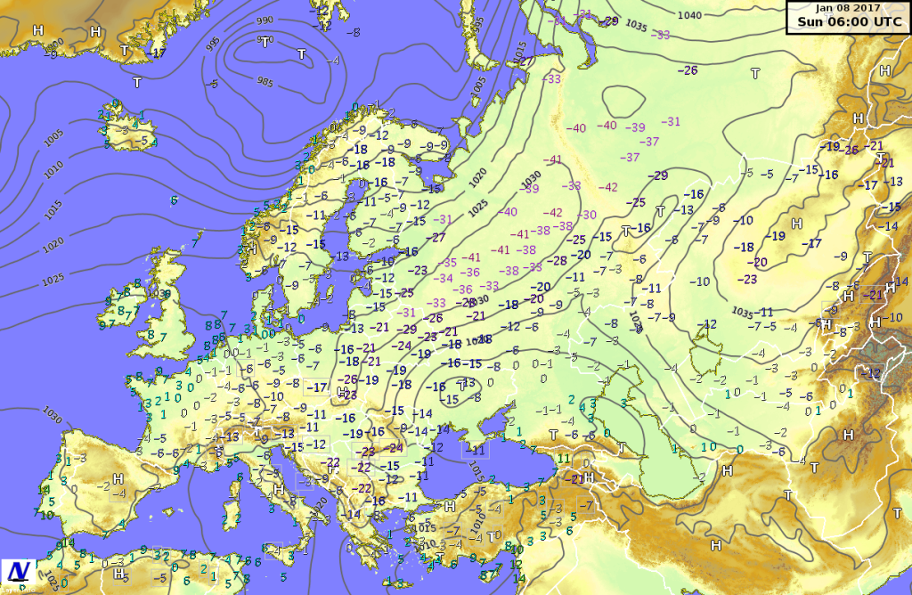 Temperature minime e  pressione riportata al livello del mare misurati l'8 gennaio