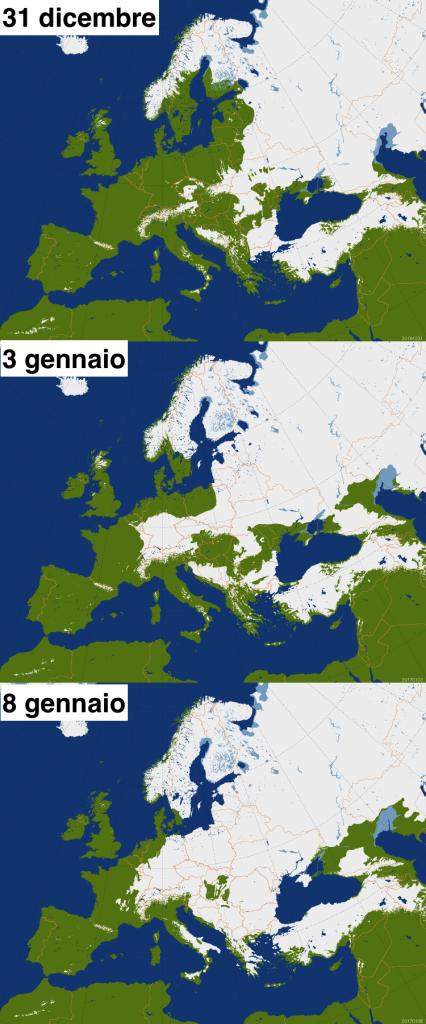 Copertura nevosa europea a confronto tra 3 diverse date: 31 dicembre, 3 gennaio e 8 gennaio dopo le ingenti nevicate che hanno interessato l'Europa centro-orientale