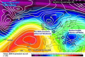 Settimana ancora tra Freddo e Perturbazioni: l'inverno continua! - Andamento masse d'aria fredde. Fonte: meteociel
