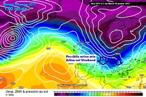 L'inverno prende il largo: ancora fioccate e freddo Artico!  - Evoluzione masse d'aria fredda. Fonte: meteociel