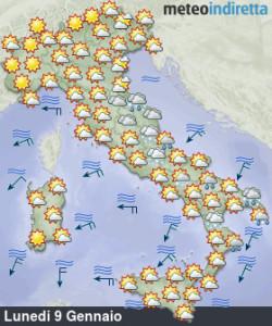 Settimana ancora tra Freddo e Perturbazioni: l'inverno continua! - Tempo previsto ad inizio settimana. Fonte: meteoindiretta