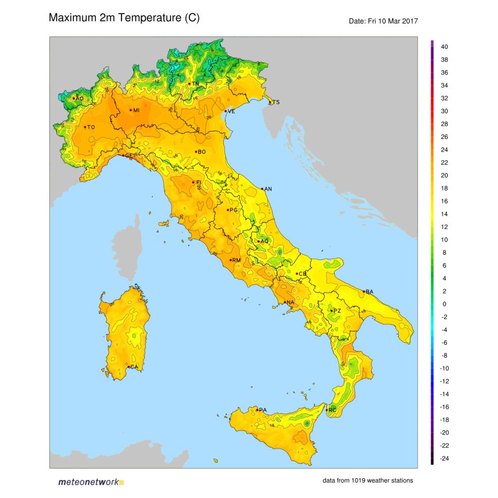 Mappa interpolata temperature massime misurate nella giornata del 10 marzo