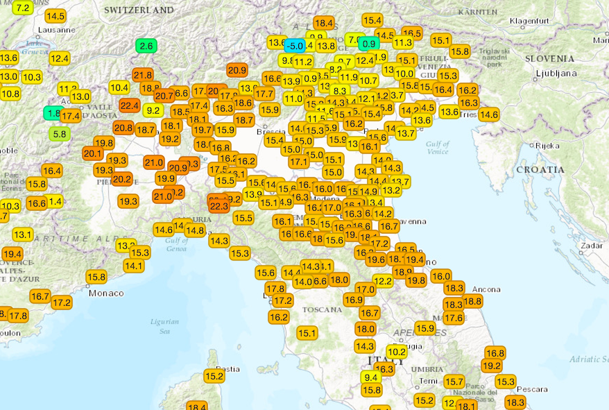 Temperature massime misurate sulle regioni centro-settentrionali