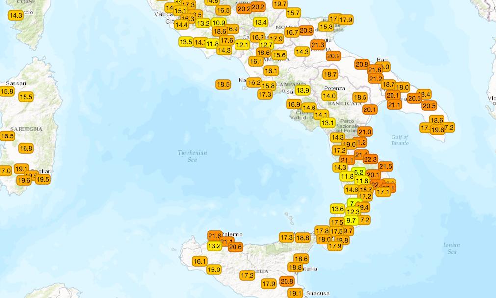 Temperature massime misurate sulle regioni centro-meridionali