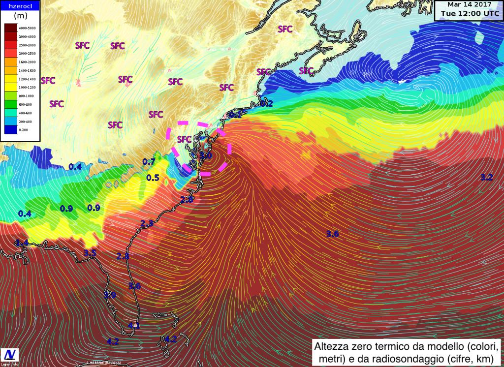 Zero termico, ovvero altezza della quota a cui si raggiungono gli 0 gradi ,prevista dal modello ICON insieme ai venti vicino al suolo