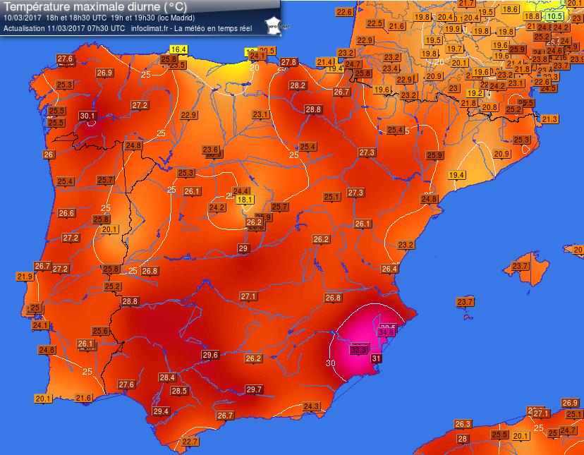 Temperature massime misurate in Spagna nella giornata di venerdì