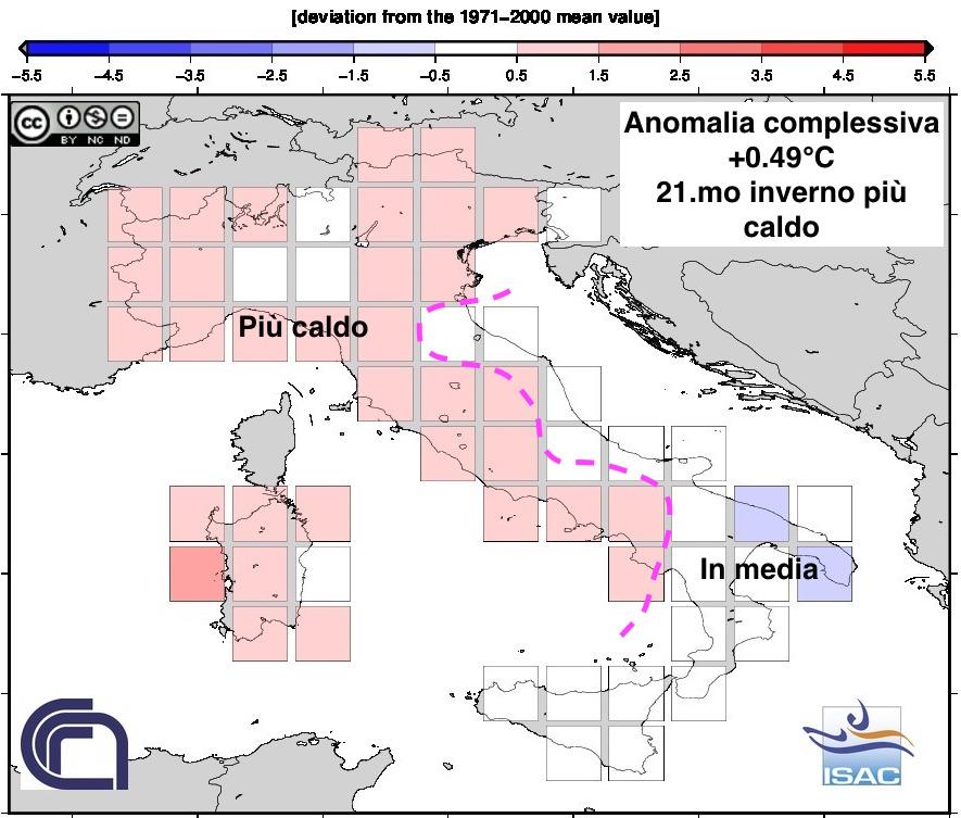 Anomalie temperature in Italia per l'inverno 2016/2017 - fonte ISAC-CNR