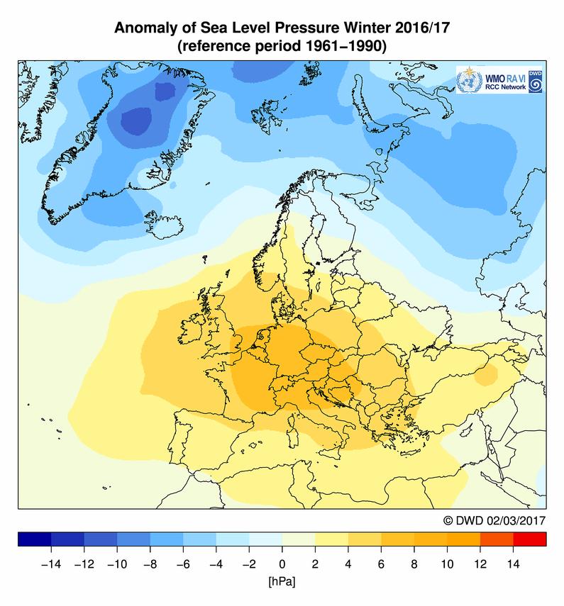 Anomalie pressione al livello del mare per la stagione invernale