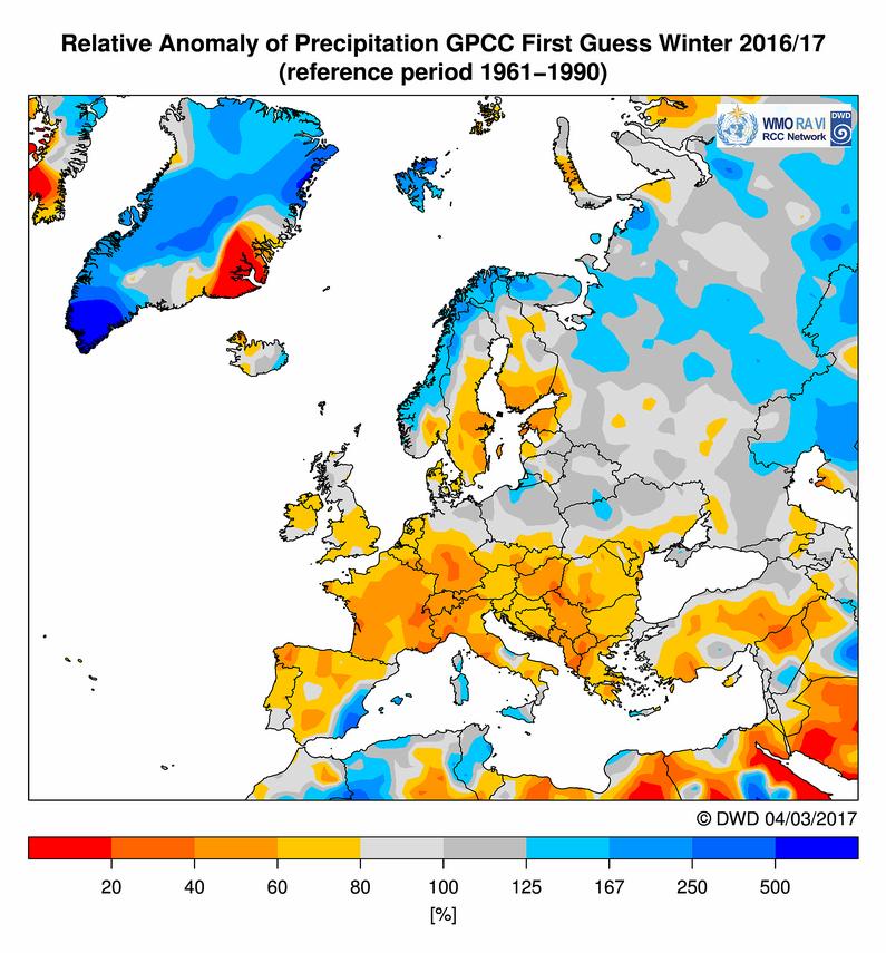 Anomalie precipitazioni per la stagione invernale