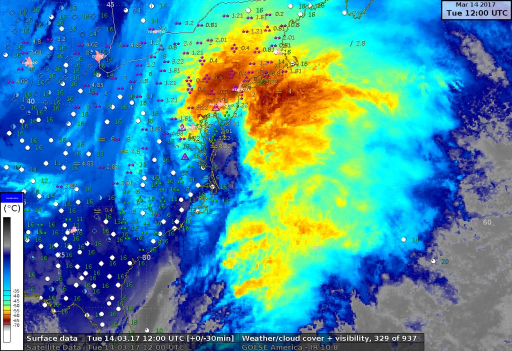 Immagine satellitare nel campo dell'infrarosso e visibilità al suolo