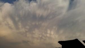 La parte superiore della nube temporalesca con virghe e mammatus vista da Milano