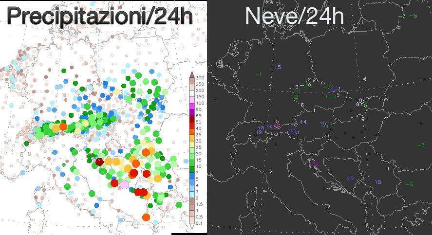 Precipitazioni misurate nelle ultime 24 ore (sinistra) e variazione del manto nevoso (destra)
