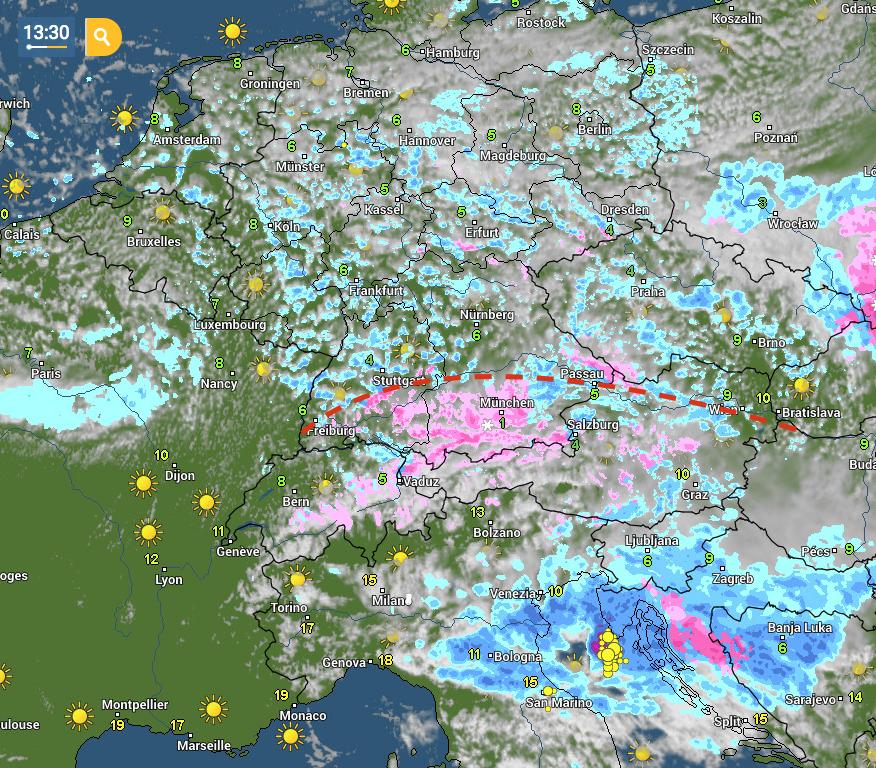 Immagine satellitare e radar con tipo di precipitazione: colori rosa indicano neve, blu le piogge