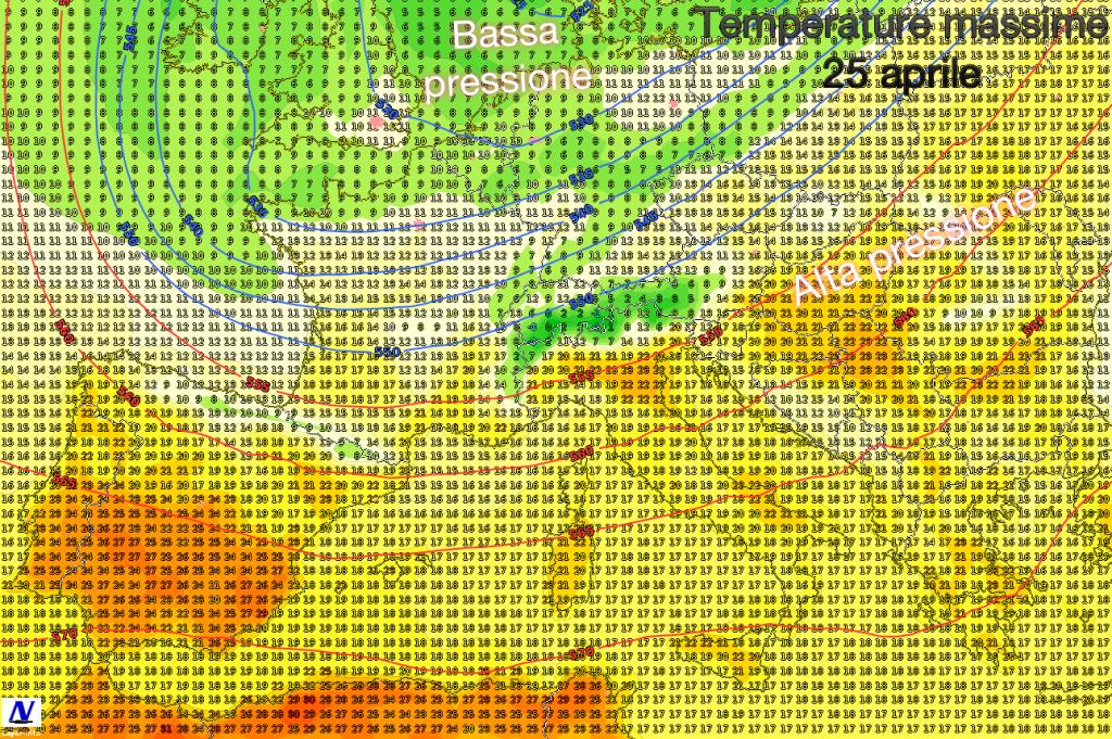 Previsione della circolazione in quota e della temperatura massima per il 25 aprile