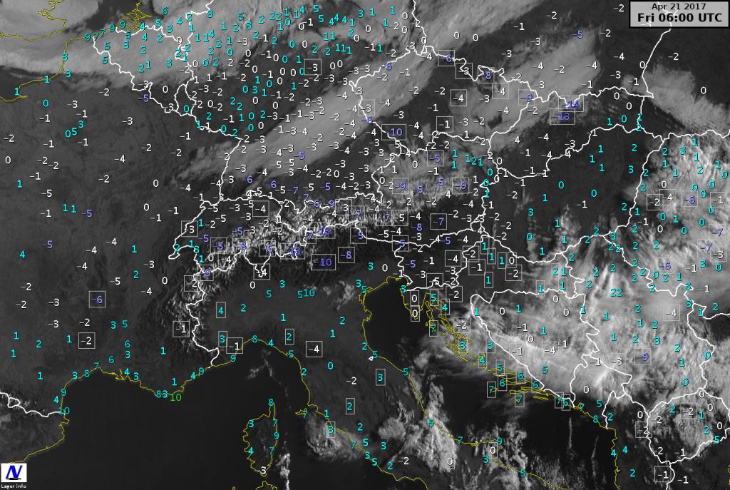 Immagine satellitare e temperature minime misurate nella mattinata di venerdì