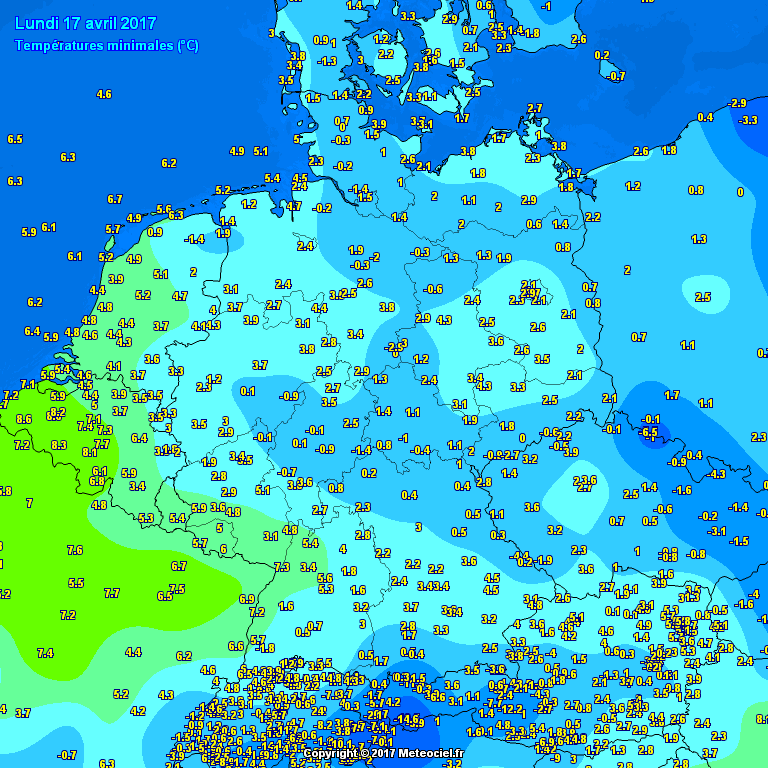 Temperature minime misurate in Germania tra lunedì e martedì