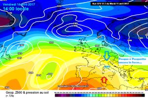 Tempo incerto e instabile: Pasqua e Pasquetta ancora in dubbio! - Settimana pasquale instabile. Fonte: meteociel