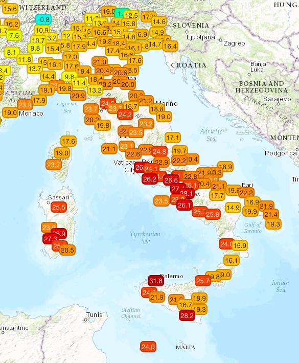 Temperature attuali misurate dalla rete di stazioni MeteoNetwork