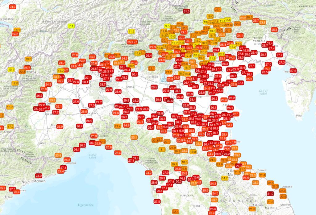 Temperature massime misurate sul nord Italia nella giornata di martedì