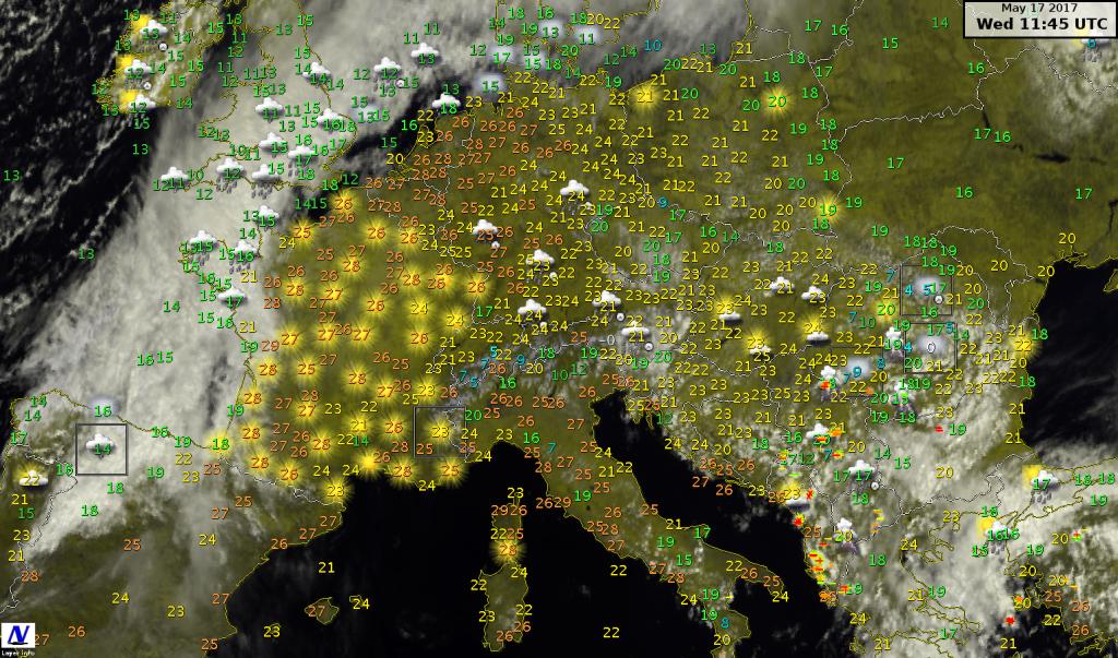 Dettaglio sul centro Europa