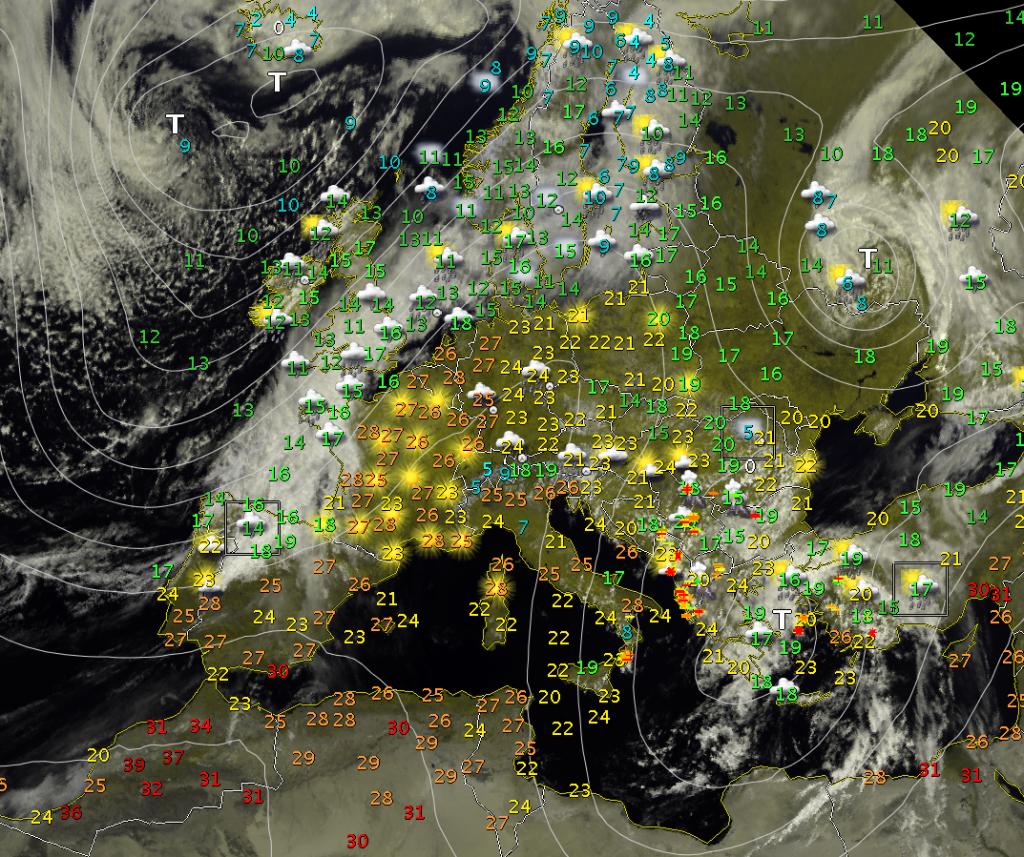 Immagine satellitare, fulminazioni, temperature e condizioni in atto