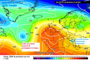 Settimana col dubbio: pieno Anticiclone o temporali? - Italia tra alta pressione e correnti fresche. Fonte: meteociel