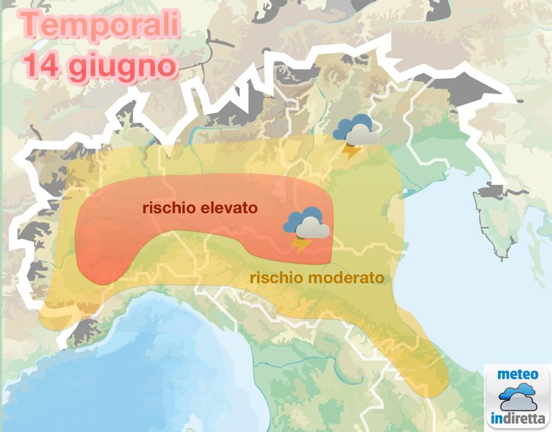 Probabilità fenomeni temporaleschi sulle regioni settentrionali