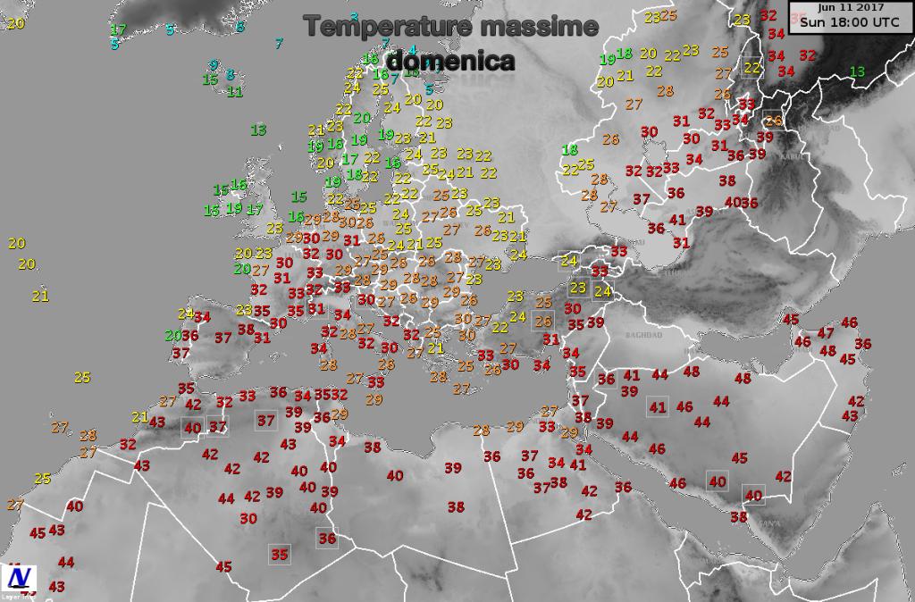 Temperature massime misurate in Europa nella giornata di domenica
