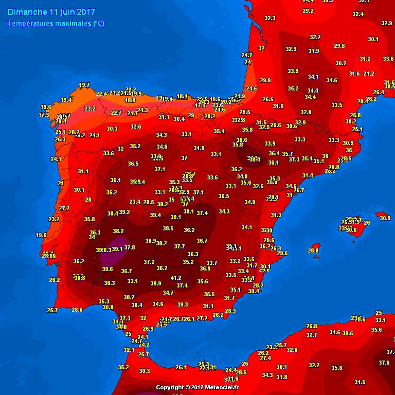 Temperature massime misurate in Spagna nella giornata di domenica