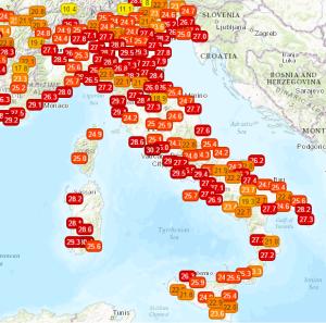 Settimana con Caldo Crescente: Temperature bollenti sino al Weekend! - Temperature in tempo reale. Fonte: meteonetwork