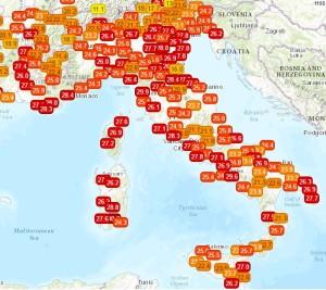 Inizia una Settimana Bollente: l'Anticiclone entra nella fase clou! - Temperature odierne ore 10. Fonte: meteonetwork