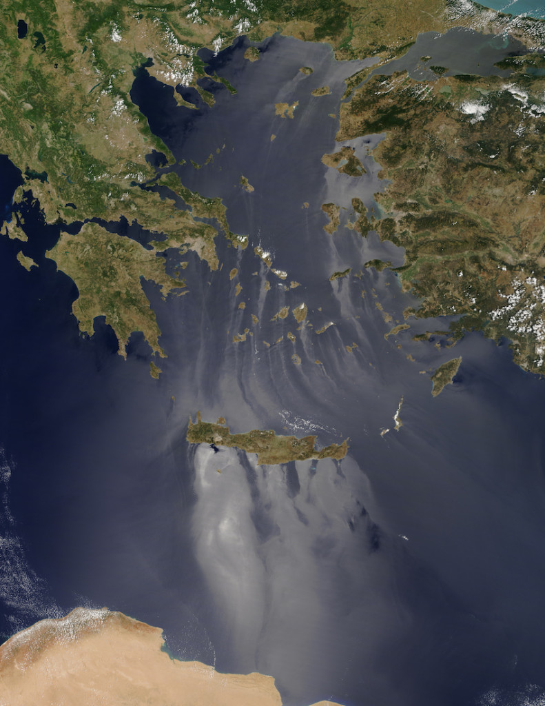 Immagine satellitare del Mar Egeo
