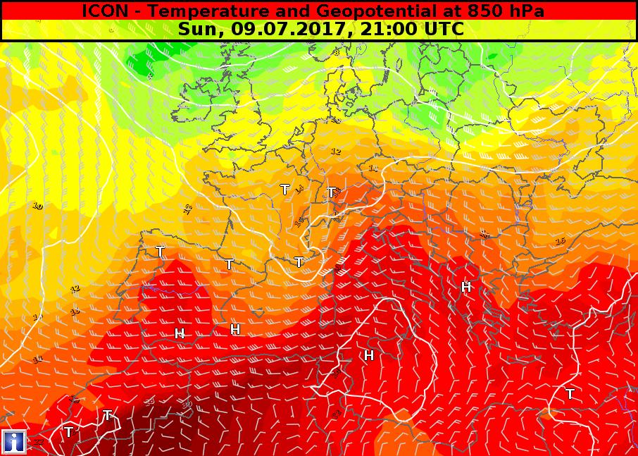 Previsione della circolazione e temperatura in quota per domenica