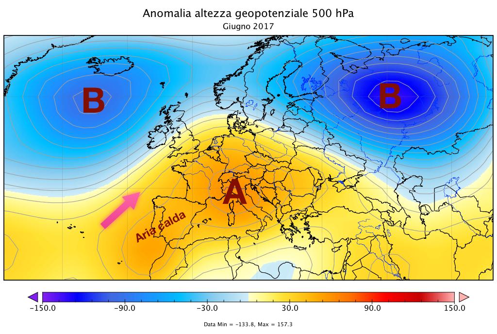 Anomalie dell'altezza di geopotenziale a 500  hPa
