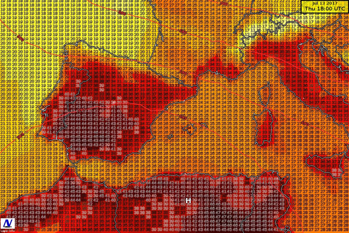 Temperature massime previste per la giornata di giovedì
