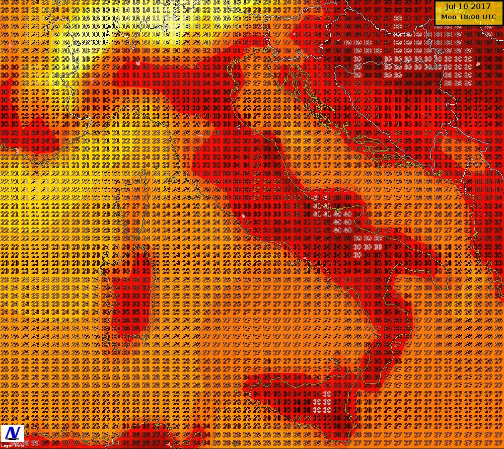 Temperature massime previste per la giornata di lunedì