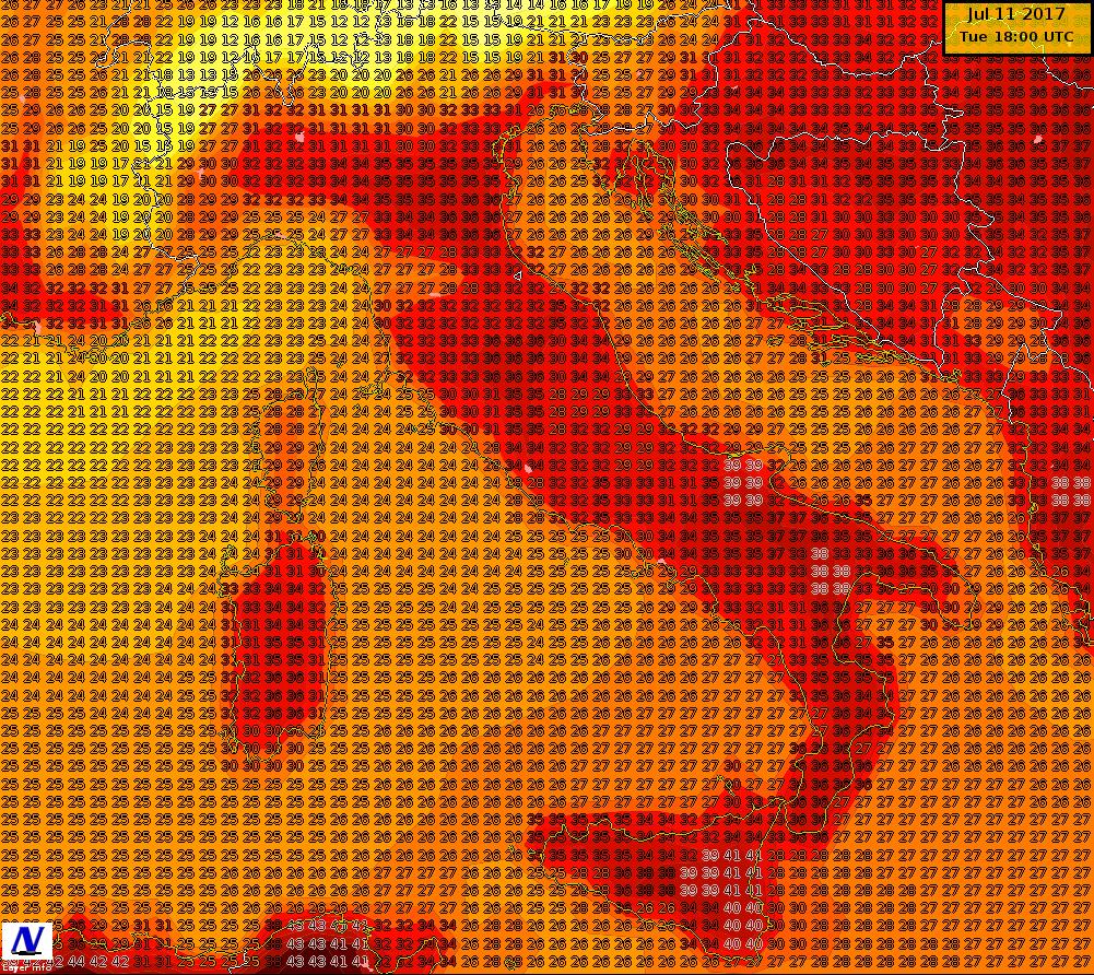 Temperature massime previste per la giornata di martedì