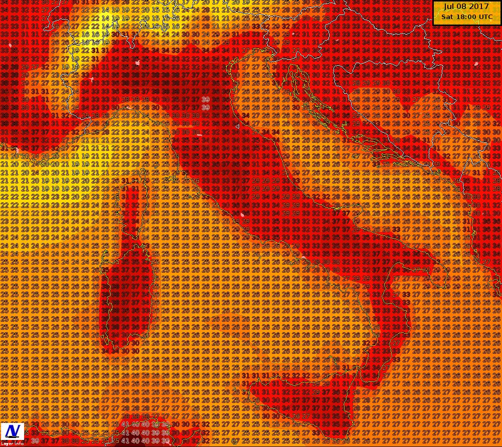 Temperature massime previste per la giornata di sabato