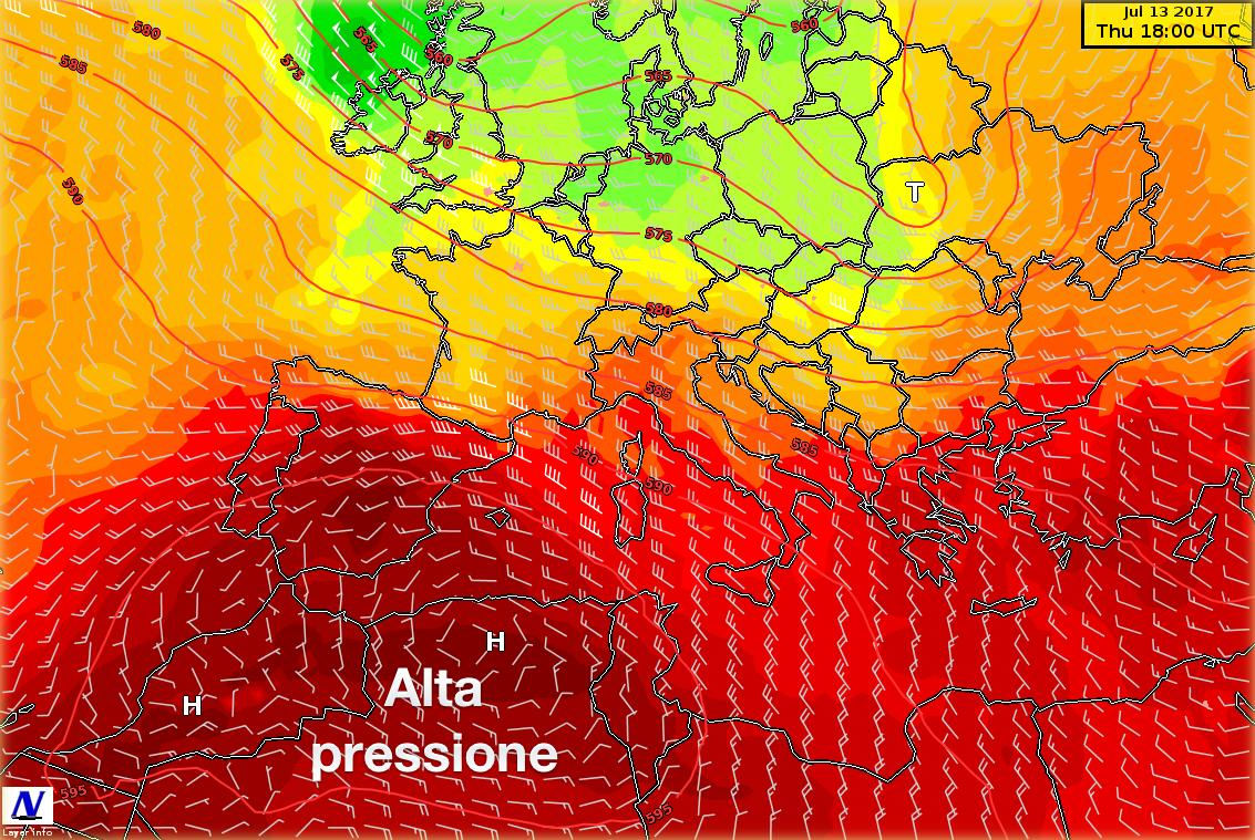 Mappa sinottica di previsione per giovedì: venti ed altezza di geopotenziale a 500 hPa, temperature a 850 hPa