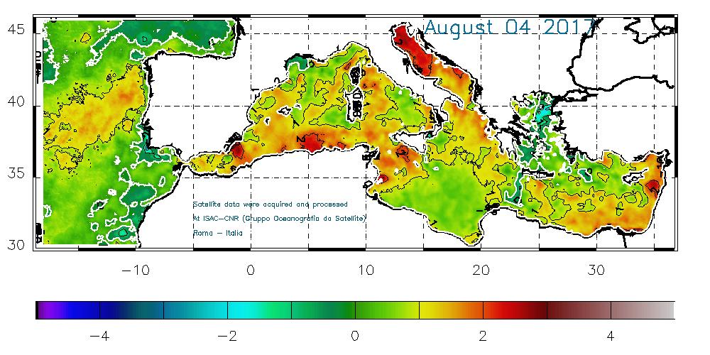 Anomalie delle temperature superficiali marine nel Mediterraneo