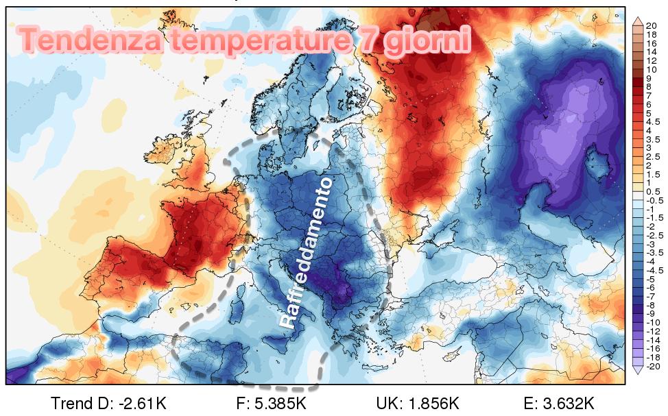 Tendenza temperature prevista ad 1 settimana di distanza