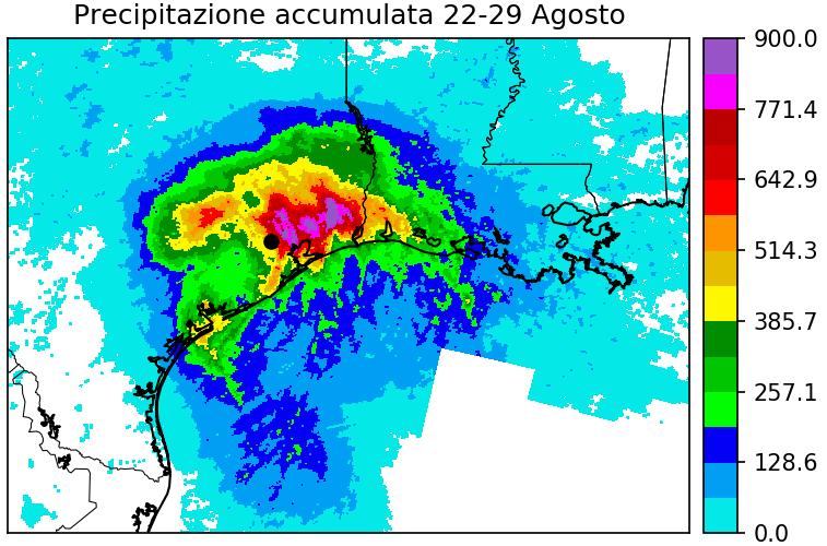 Precipitazioni accumulate dal 22 al 29 di agosto