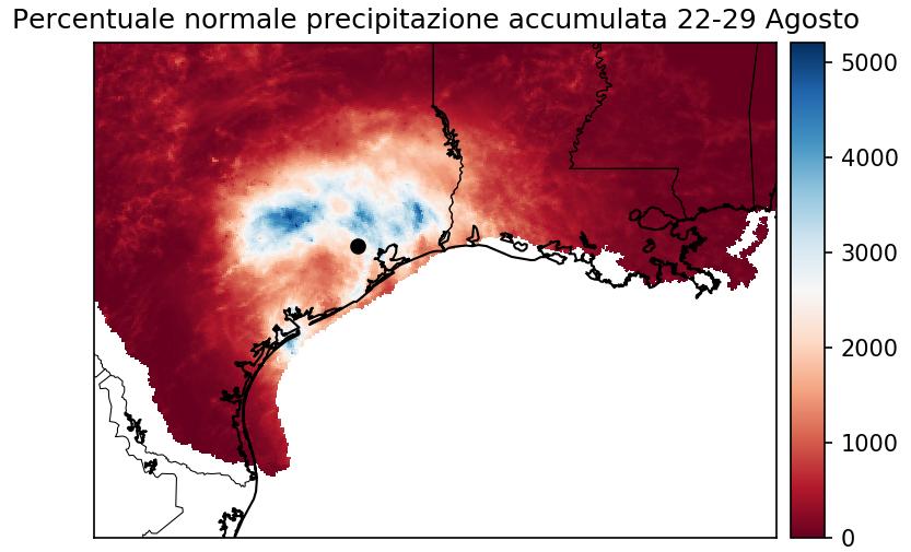 Percentuale (rispetto alla climatologia) delle precipitazioni accumulate tra il 22 ed il 29 di agosto