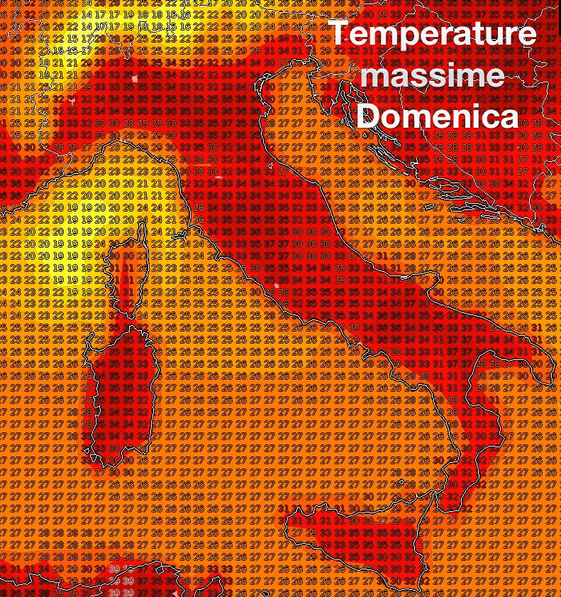 Stima delle temperature massime previste per domenica