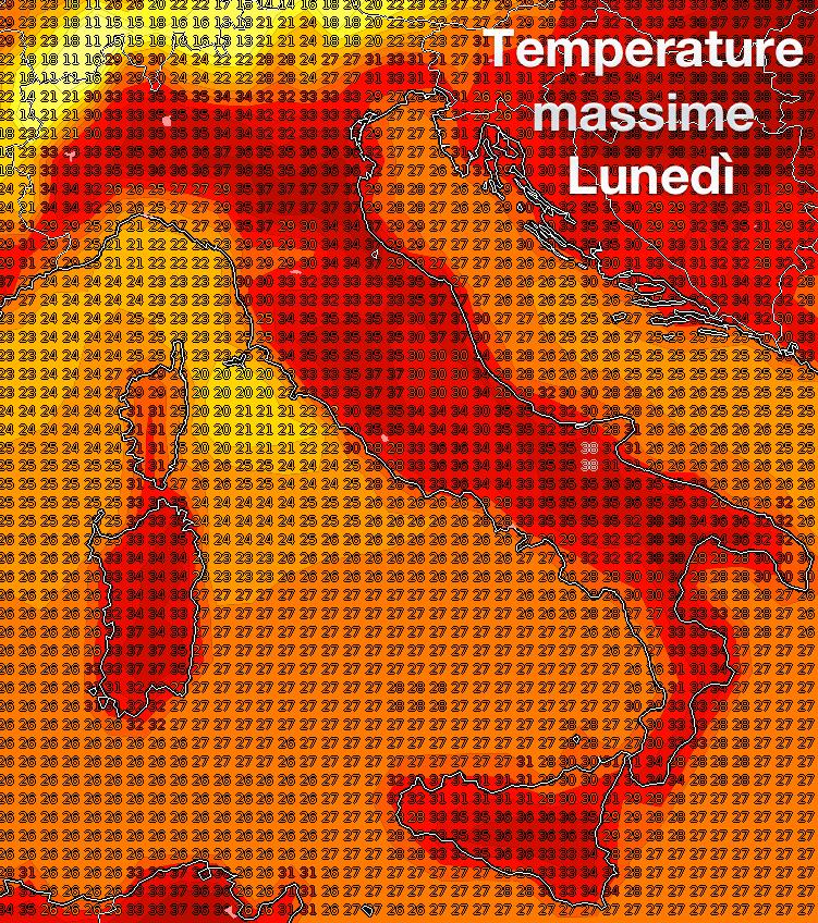 Stima delle temperature massime previste per lunedì