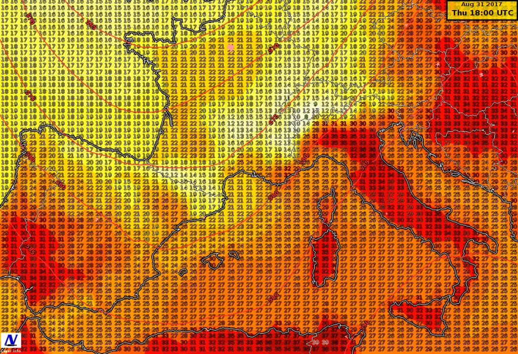 Temperature massime previste per il 31 agosto dal modello ICON
