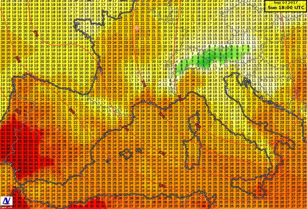 Temperature massime previste per il 3 settembre dal modello ICON