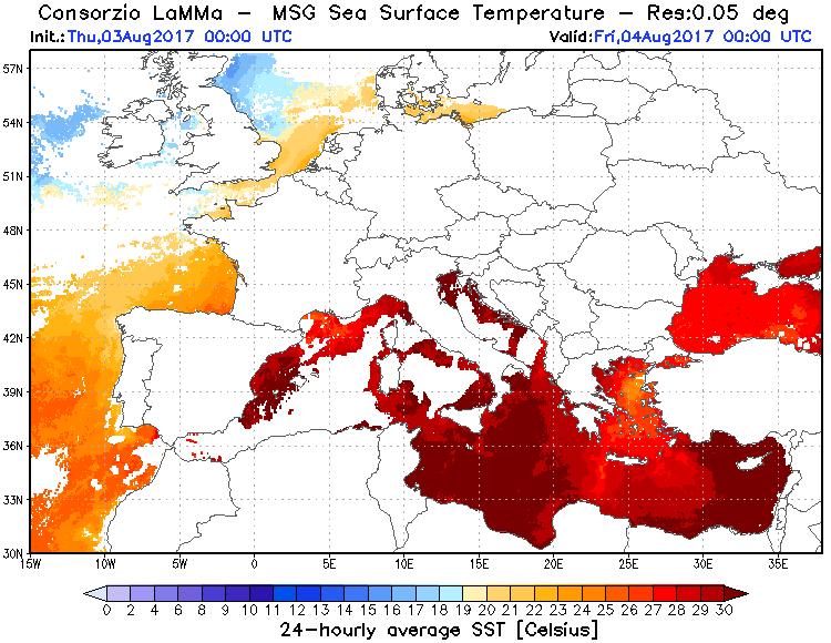 Temperature superficiali marine rilevate nelle ultime 24 ore